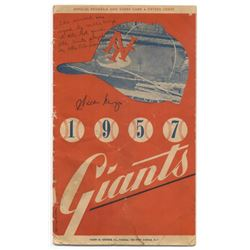 Willie Mays Signed 1957 Giants Scorebook (JSA COA)