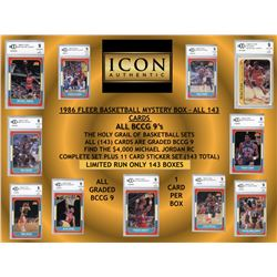 Icon Authentic 1986 Fleer Basketball Mystery Box – Limited Run of (143) BCCG Graded 9 Cards