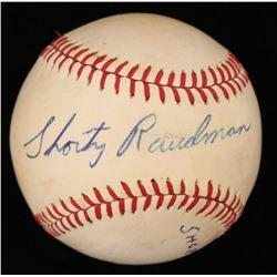 """Bob """"Shorty"""" Raudman Signed OL Baseball (JSA COA)"""
