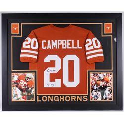 """Earl Campbell Signed Texas 35x43 Custom Framed Jersey Inscribed """"HT 77"""" (JSA COA)"""