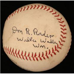 "Don Rader Signed ONL Baseball Inscribed ""Walla Walla Wm."" (JSA COA)"