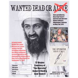 "Robert O'Neill Signed LE ""Bin Laden Wanted Dead or Alive"" 13x16 Photo (PSA COA)"
