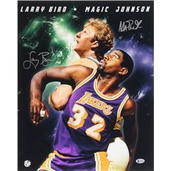 Magic Johnson  Larry Bird Signed 16x20 Photo (Beckett Hologram  Bird Hologram)