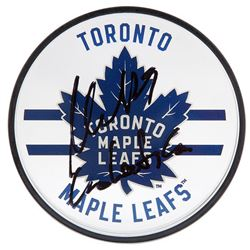 "William Nylander Signed Maple Leafs Logo Acrylic Hockey Puck Inscribed ""Go Leafs Go"" (UDA COA)"
