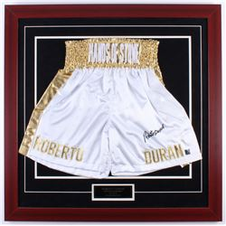 "Roberto Duran Signed ""Hands of Stone"" 31.5x31.5 Custom Framed Boxing Trunks Display (Authentic Signi"