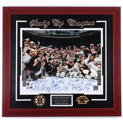 "2011 Bruins ""Stanley Cup Champions"" 27.5x29.5 Custom Framed Photo Display Team-Signed by (22) with Z"