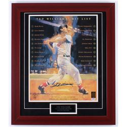 "Ted Williams Signed Red Sox ""Hit List"" 23.25x27.25 Custom Framed Photo Display (PSA LOA  Williams Ho"