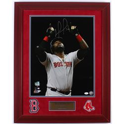 "David Ortiz Signed Red Sox ""500th Home Run"" 23.75x29.75 Custom Framed Photo Display with (2) Patches"