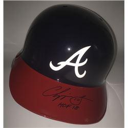 """Chipper Jones Signed Braves Full Size Batting Helmet Inscribed """"HOF 18"""" (MLB)"""
