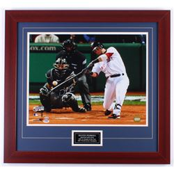 Dustin Pedroia Signed Red Sox 25.5x27.5 Custom Framed Photo Display (PSA COA)