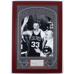 Red Auerbach Signed Celtics 23.5x33.5 Custom Framed Personal Check Display with 16x20 Photo (JSA COA