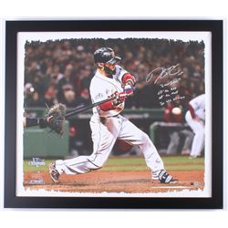 Dustin Pedroia Signed LE Red Sox 25x28.75 Custom Framed Print on Canvas Display with (4) Inscription