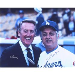 Vin Scully  Tommy Lasorda Signed Dodgers 16x20 Photo (JSA ALOA)