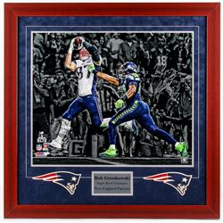 "Rob Gronkowski Signed LE Patriots ""Super Bowl Champion"" 31.25x31.75 Custom Framed Photo Display (Ste"