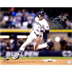 """Christian Yelich Signed Brewers """"Hit For Cycle 9/17/18"""" 16x20 Photo (Steiner Hologram)"""