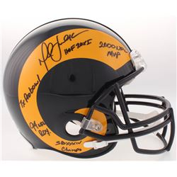 """Marshall Faulk Signed Rams Full-Size Authentic On-Field Throwback Helmet Inscribed """"HOF 20XI"""", """"2000"""