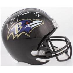 """Ray Lewis Signed Ravens Full-Size Helmet Inscribed """"HOF 18"""" (Beckett COA)"""