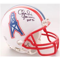 """Charlie Joiner Signed Oilers Mini-Helmet Inscribed """"HOF 96"""" (Jersey Source COA)"""