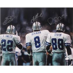 Emmitt Smith, Michael Irvin,  Troy Aikman Signed Cowboys 16x20 Photo (JSA COA  Beckett COA)