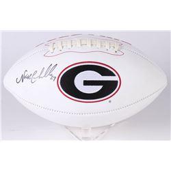 Nick Chubb Signed Georgia Bulldogs Logo Football (JSA COA)