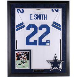 Emmitt Smith Signed Cowboys 36x44 Custom Framed Jersey  8x10 Photo (Beckett COA  Prova Hologram  JSA