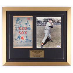 Ted Williams Signed Red Sox 18x21 Custom Framed Photo Display with Score Card (PSA LOA)