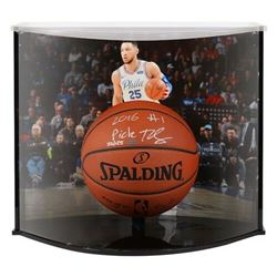 """Ben Simmons Signed LE 76ers NBA Official Game Ball Inscribed """"2016 #1 Pick"""" With Curve Display Case"""