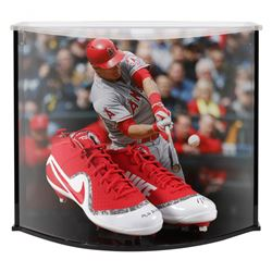 """Mike Trout Signed LE Nike Force Zoom Trout 4 Cleats Inscribed """"'14, '16 AL MVP"""" with Custom Acrylic"""