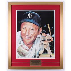 Mickey Mantle Signed Yankees 22x28 Custom Framed Print Display (JSA LOA)