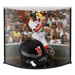 Mookie Betts Signed Red Sox Full-Size Batting Helmet With Custom Acrylic Curve Display Case (Fanatic