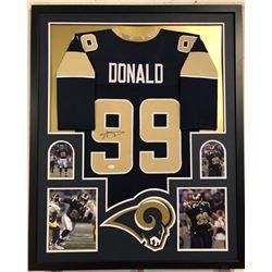 Aaron Donald Signed Rams 34x42 Custom Framed Jersey Display (JSA COA)