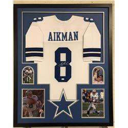 Troy Aikman Signed Cowboys 34x42 Custom Framed Jersey Display (JSA COA)