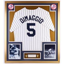 Joe DiMaggio Signed Yankees 32x36 Custom Framed Cut with Championship Rings (PSA)