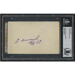 Vyacheslav Molotov Signed 3.5x5 Photo With Inscription (Beckett Encapsulated)