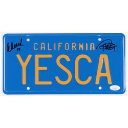"""Cheech Marin  Tommy Chong Signed """"Up in Smoke"""" License Plate Inscribed """"19"""" (JSA COA)"""