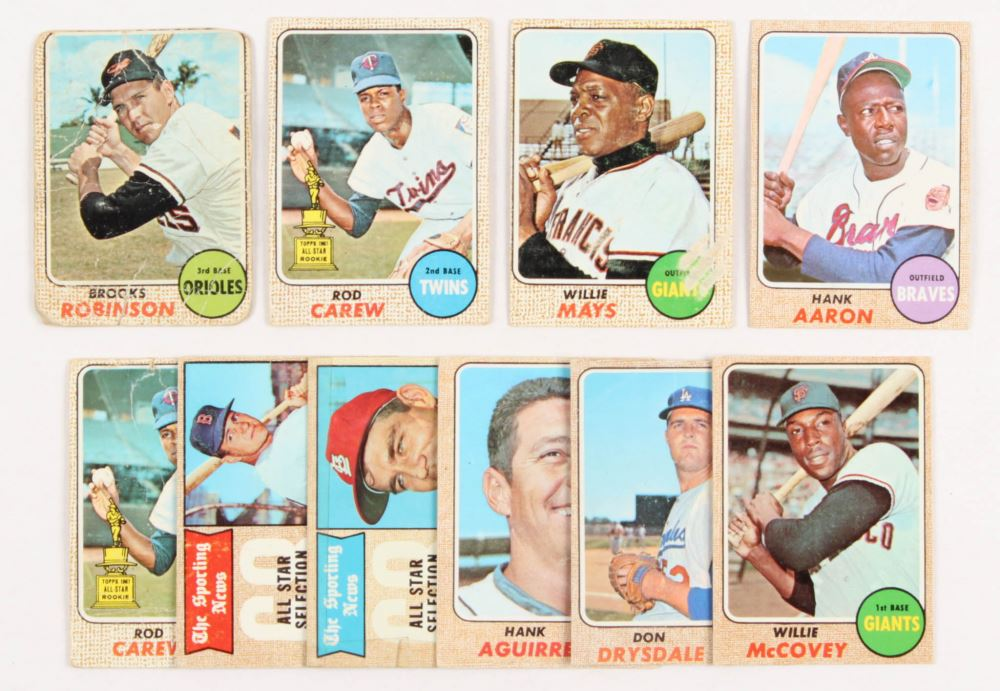 Lot Of 10 1968 Topps Baseball Cards With 50 Willie Mays