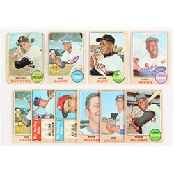 Lot of (10) 1968 Topps Baseball Cards with #50 Willie Mays, #80 Rod Carew, #110 Hank Aaron, #20 Broo