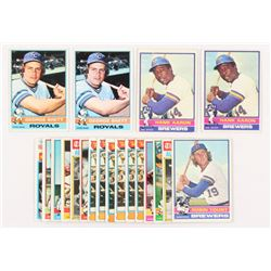 Lot of (20) 1976 Topps Baseball Cards with (2) #550 Hank Aaron, (2) #19 George Brett