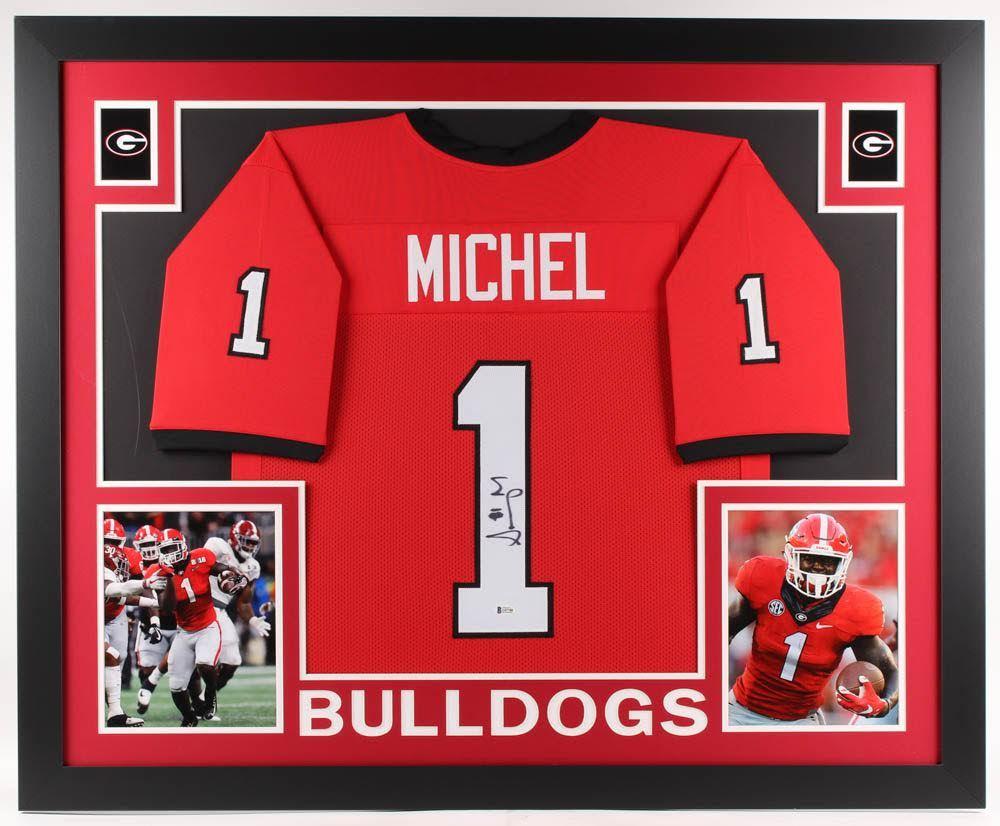Sony Michel Signed Georgia Bulldogs 35x43 Custom Framed ...