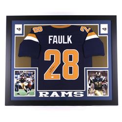 Marshall Faulk Signed St. Louis Rams 35x43 Custom Framed Jersey (JSA COA)