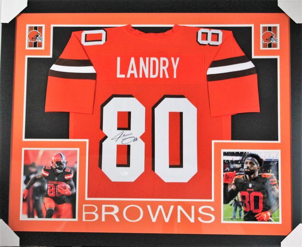 quality design 2a5f6 8f9d3 Jarvis Landry Signed Browns 35x43 Custom Framed Jersey ...