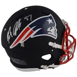 Rob Gronkowski Signed Patriots Custom Matte Black Full-Size Authentic On-Field Speed Helmet (Steiner
