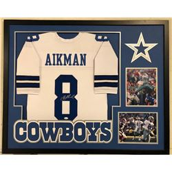 Troy Aikman Signed Cowboys 34x42 Custom Framed Jersey Display (JSA COA)