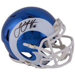Jared Goff Signed Rams Chrome Mini Speed Helmet (Fanatics Hologram)