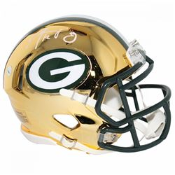 Aaron Rodgers  Signed Packers Chrome Mini Speed Helmet (Steiner COA)