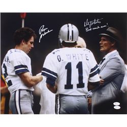 "Danny White  Roger Staubach Signed Cowboys 16x20 Photo Inscribed ""Best Coach Ever!"" (JSA COA)"