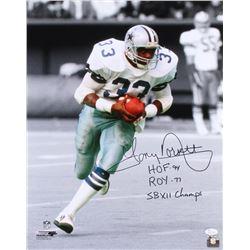 """Tony Dorsett Signed Cowboys 16x20 Photo Inscribed """"HOF 94"""", """"ROY 77""""  """"SB XII Champs"""" (JSA COA)"""