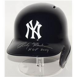 """Ricky Henderson Signed Yankees Full-Size Batting Helmet Inscribed """"HOF 2009"""" (Steiner COA)"""