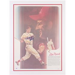 "Stan Musial Signed LE Cardinals 21.5x28 Custom Matted Lithograph Inscribed ""HOF 69"" (PSA COA)"