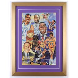 Los Angeles Lakers 16.5x22 Custom Framed Lithograph Display Team-Signed by (7) with Magic Johnson, J
